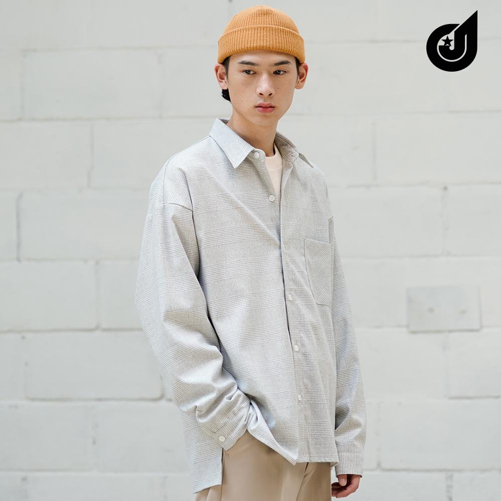 [다이클레즈] 슬릿 체크 셔츠 그레이 KHLS5118