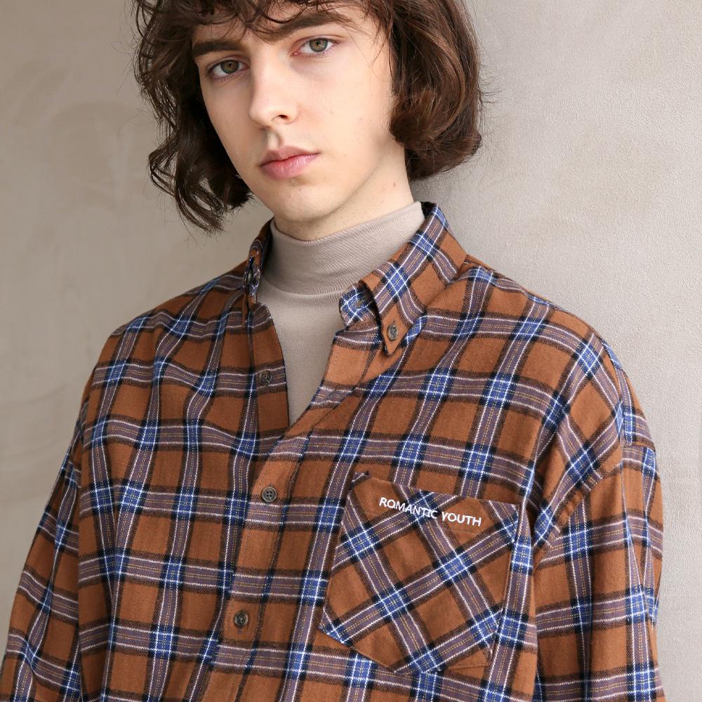 플란넬 체크 셔츠 F-B0503 #2 BROWN