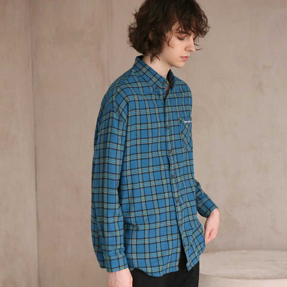 플란넬 체크 셔츠 F-B0503 #4 BLUE GREEN