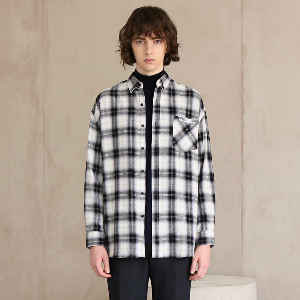 플란넬 체크 셔츠 F-B0510 #4 BLACK