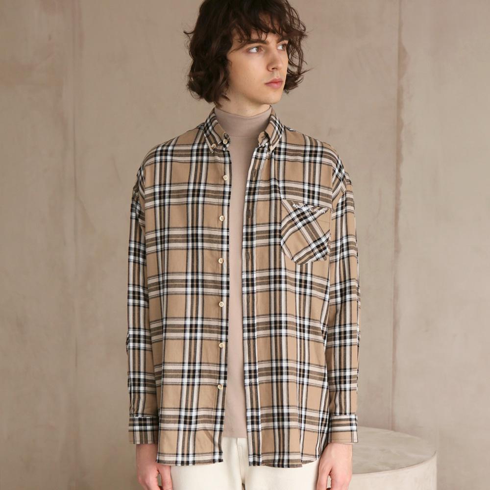 플란넬 체크 셔츠 F-B0504 #1 BEIGE