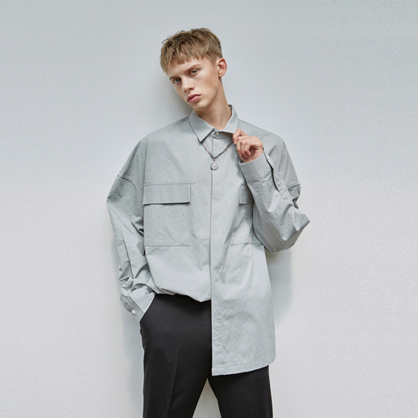 UNIQUE POCKET SHIRT_GRAY
