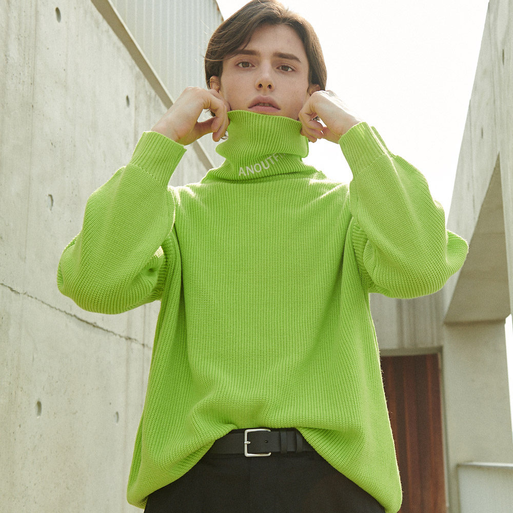 UNISEX OVERFIT KNIT TURTLENECK YELLOW GREEN