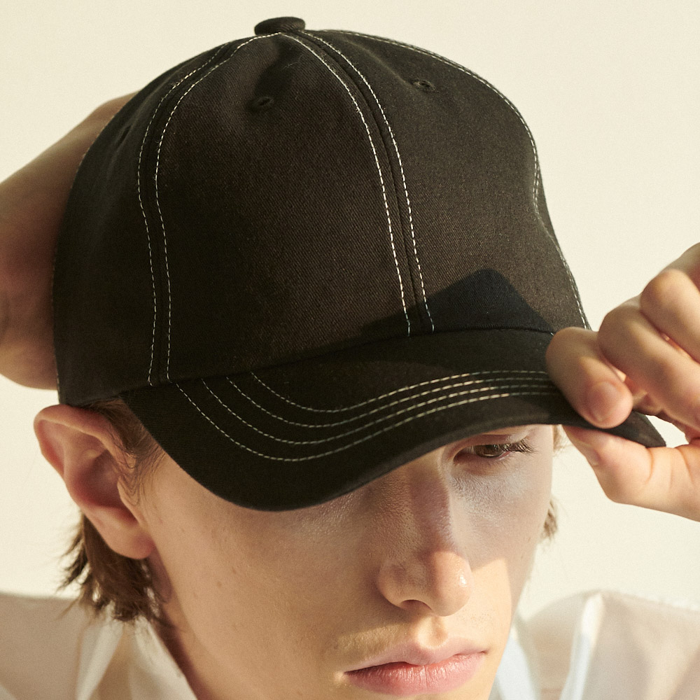 UNISEX OVERFIT STITCH BALL CAP BLACK