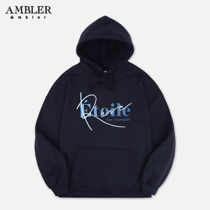 [엠블러]AMBLER 신상 자수 오버핏 후드티 AHP609-네이비 기모