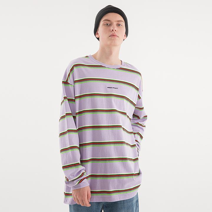 [minimal project] 미니멀프로젝트 멀티 스트라이프 오버핏 롱 슬리브 티셔츠 MLT106 [LAVENDER]