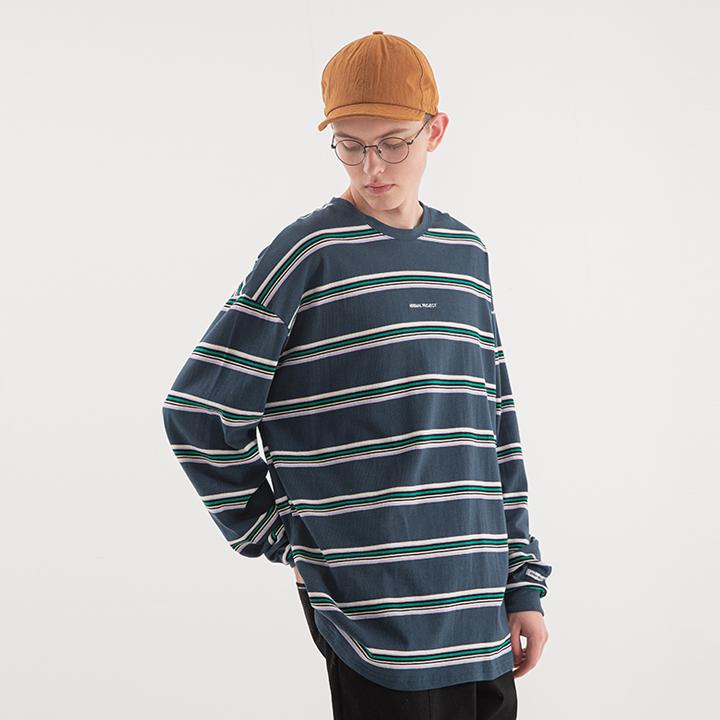 [minimal project] 미니멀프로젝트 멀티 스트라이프 오버핏 롱 슬리브 티셔츠 MLT106 / 2color