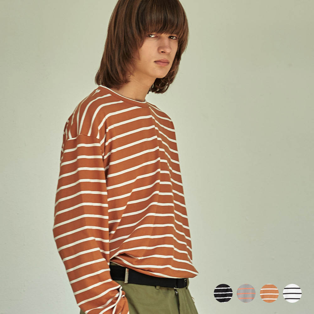 (UNISEX) 스트라이프 롱 슬리브 티셔츠 4COLOR