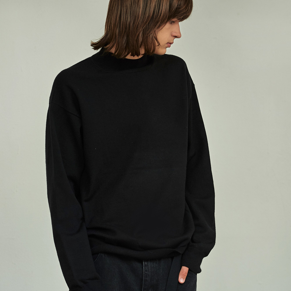 (MEN) 브로드 하프넥 루즈 니트 티셔츠 블랙
