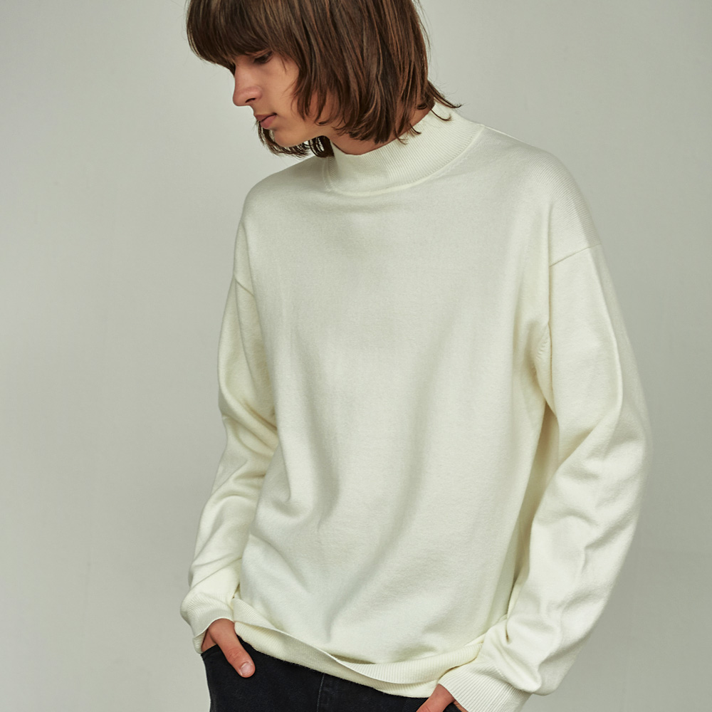 (MEN) 브로드 하프넥 루즈 니트 티셔츠 아이보리