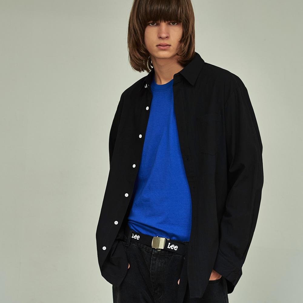 (UNISEX) 베이직 칼라 루즈핏 데일리 셔츠 블랙