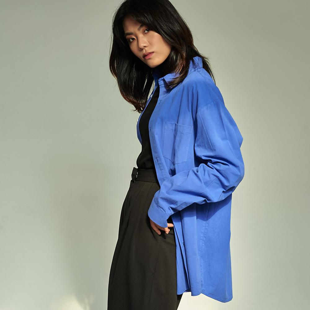 (UNISEX) 베이직 칼라 루즈핏 데일리 셔츠 블루