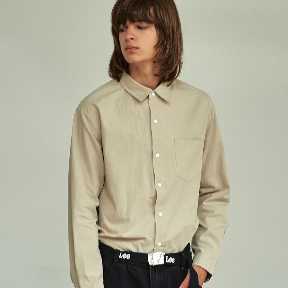 (UNISEX) 베이직 칼라 루즈핏 데일리 셔츠 베이지