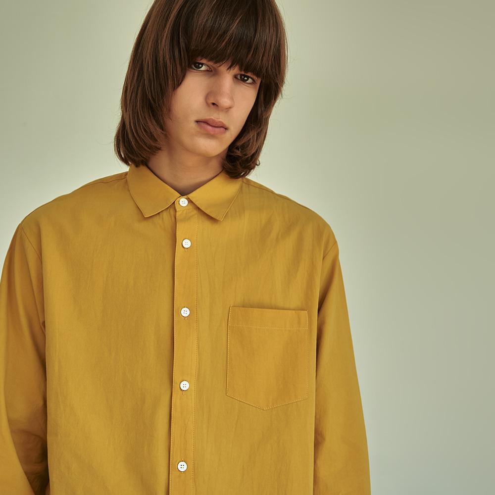 (UNISEX) 베이직 칼라 루즈핏 데일리 셔츠 머스타드