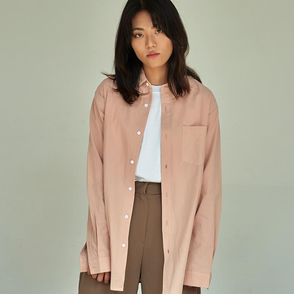 (UNISEX) 베이직 칼라 루즈핏 데일리 셔츠 핑크