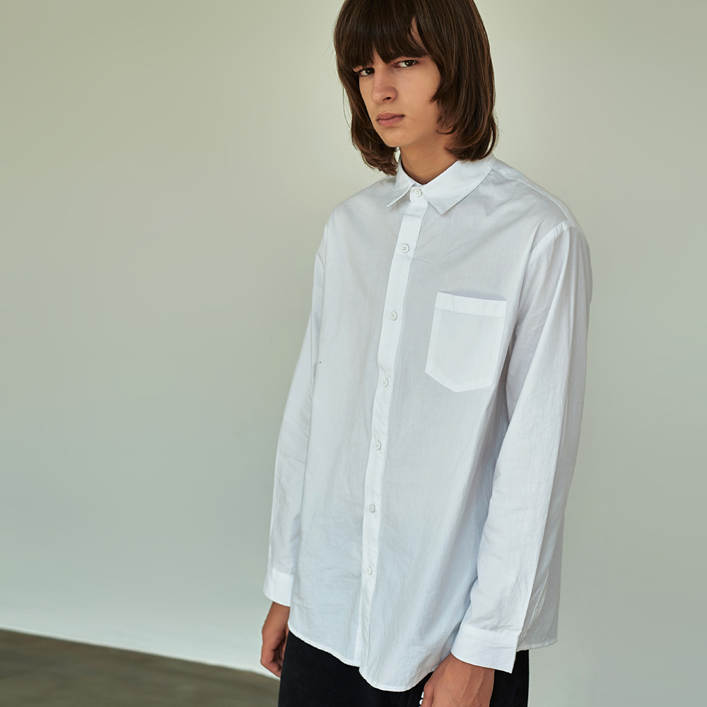 (UNISEX) 베이직 칼라 루즈핏 데일리 셔츠 아이보리