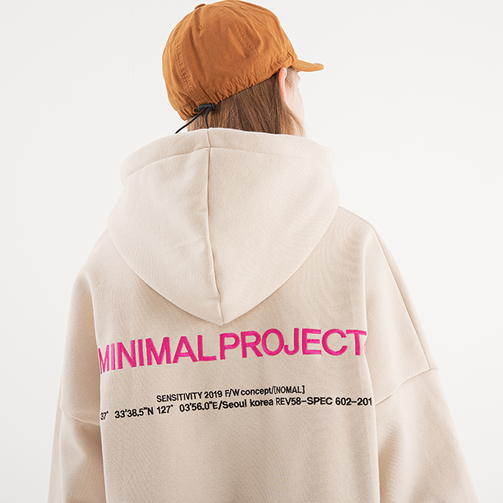 [minimal project] 미니멀프로젝트 포지션 넘버 폰트 오버핏 후드 MHT106 / 3color