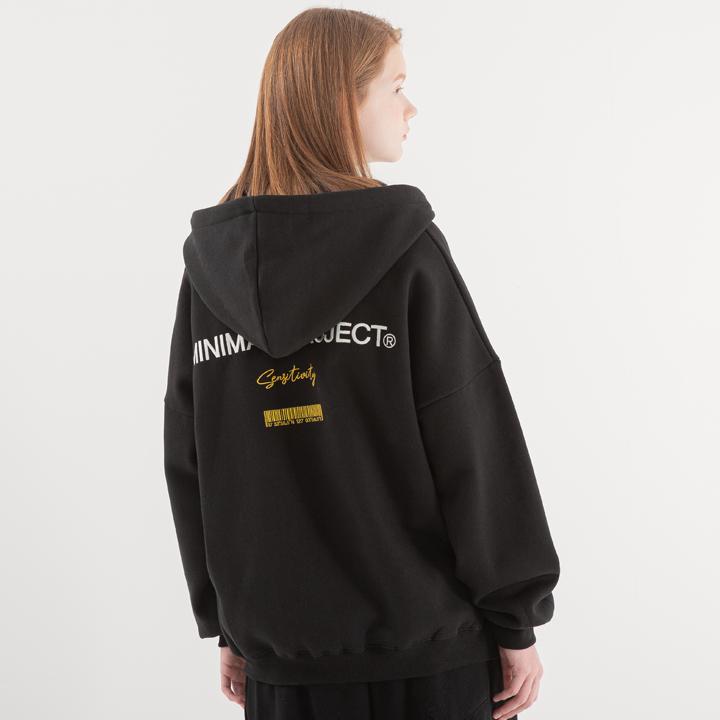 [minimal project] 미니멀프로젝트 바코드 자수 오버핏 후드집업 MZT103 [BLACK]