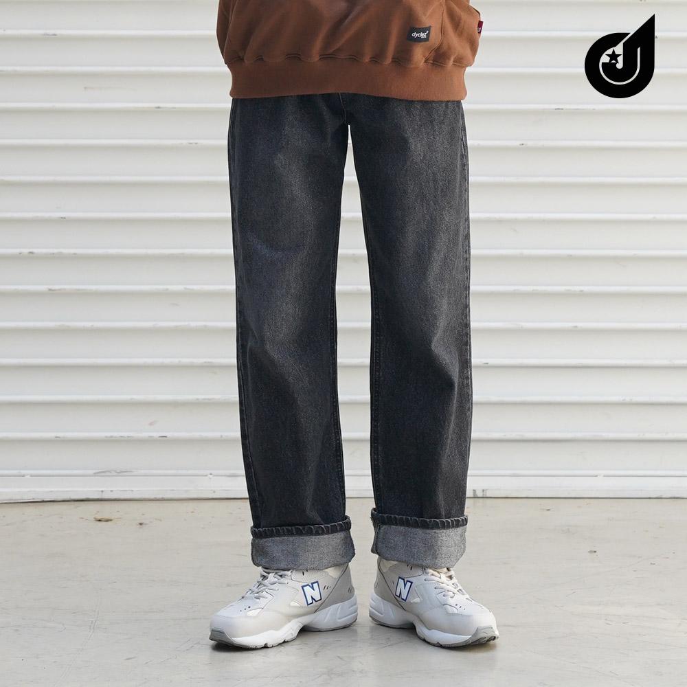 [다이클레즈] 스톤 세미와이드 데님팬츠 블랙 CJLP5114