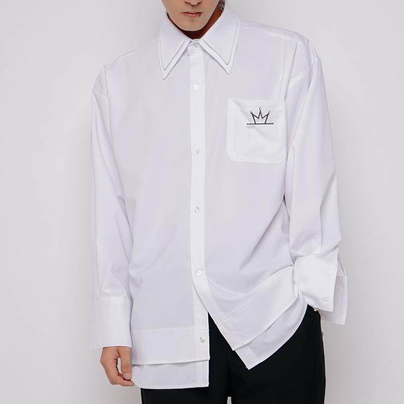 [A.Clown]빅 더블카라 레이어드 셔츠 WHITE
