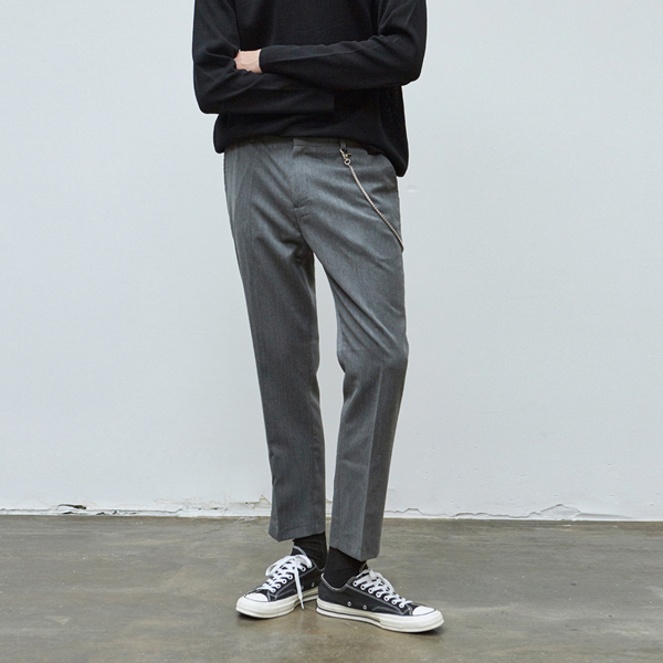 STRAIGHT CROP SLACKS_GRAY