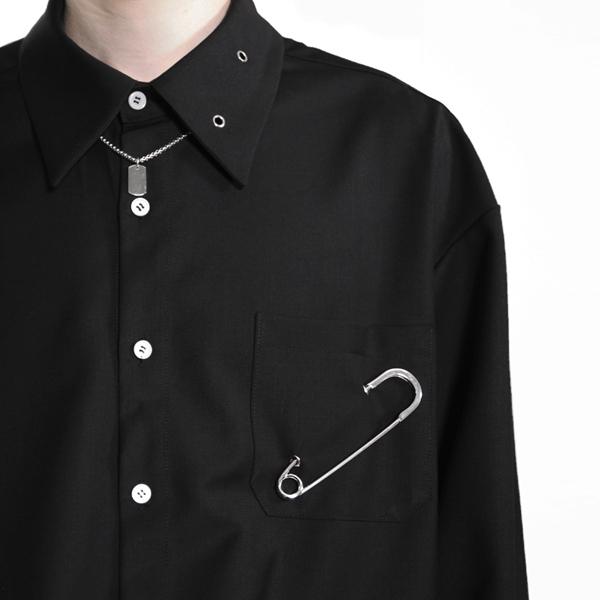 아차 와이드 커프스 옷핀 셔츠 _ 블랙