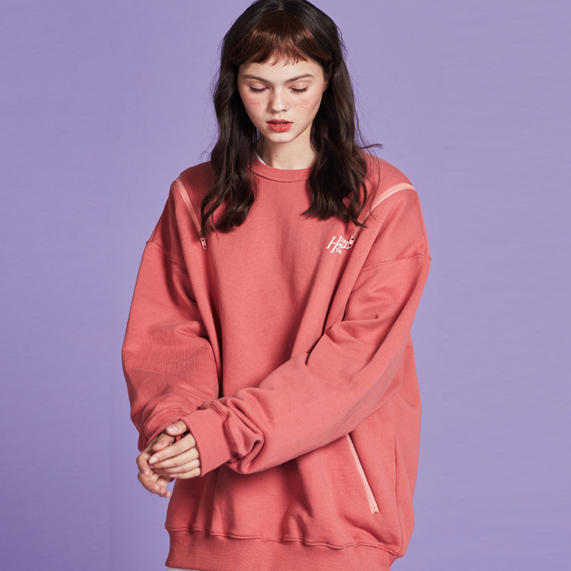 [단독할인][unisex] fake zipper mtm (coral pink)