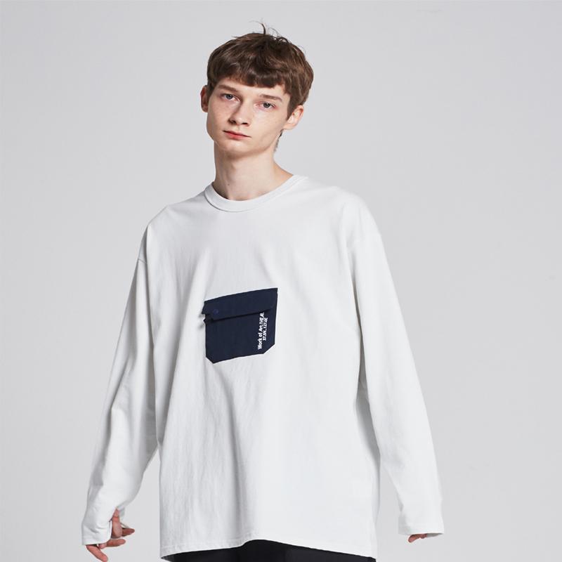 [단독할인][unisex] pocket long-sleeve T-shirt (off white / navy)
