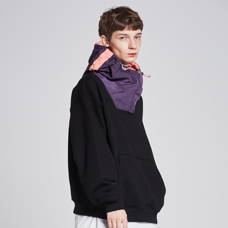 [단독할인][unisex] real memory fabric hooded sweat shirts (black / purple-pink)