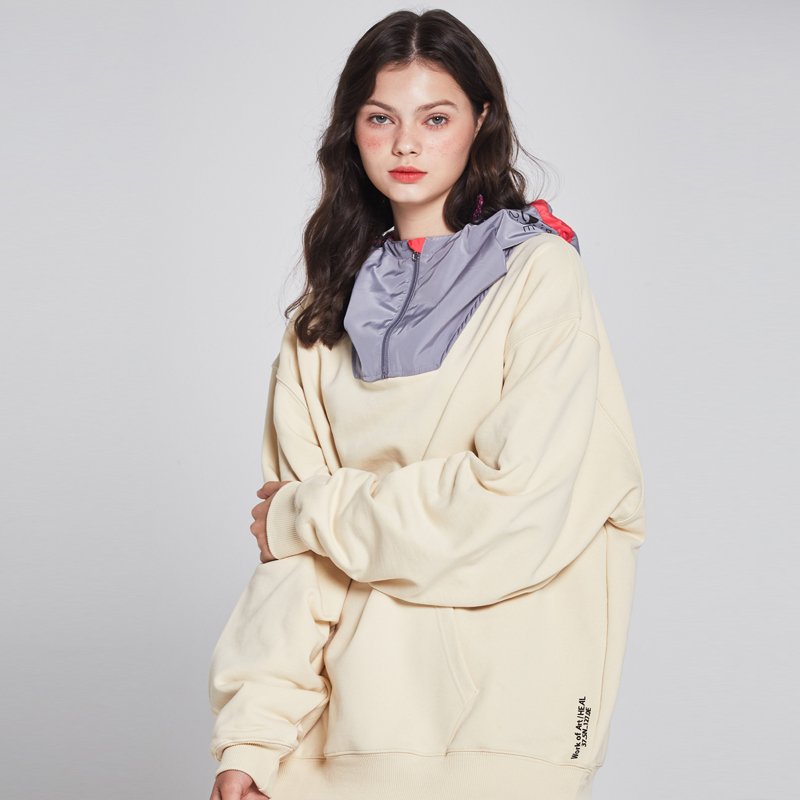 [단독할인][unisex] real memory fabric hooded sweat shirts (beige / silver-hotpink)