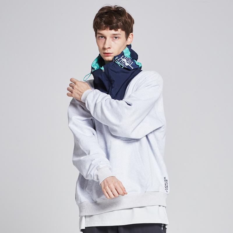 [단독할인][unisex] real memory fabric hooded sweat shirts (melange /navy-mint)