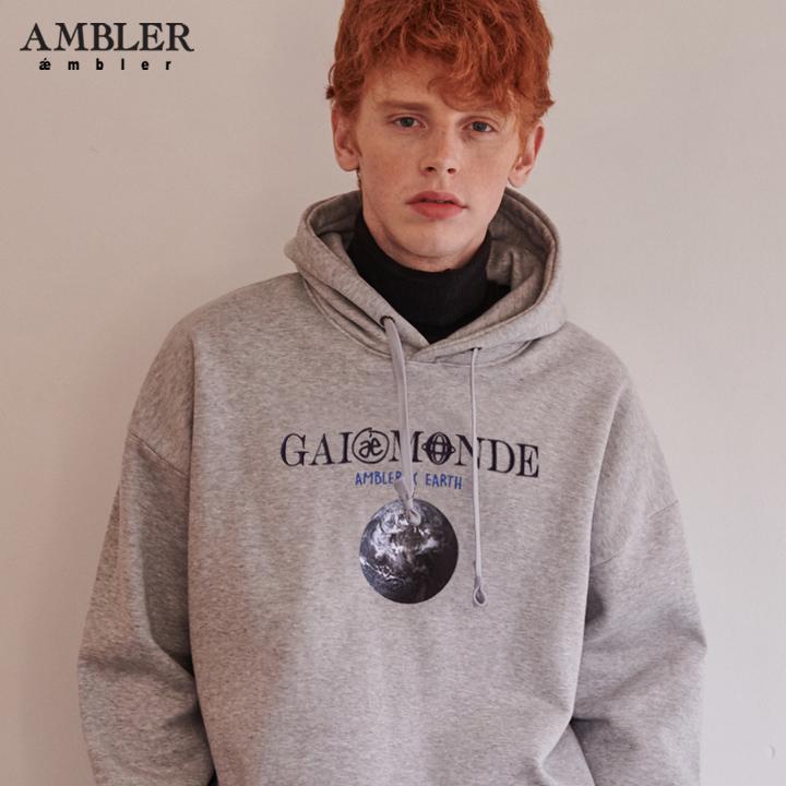 [엠블러]AMBLER 신상 자수 오버핏 후드티 AHP611-멜란지 기모