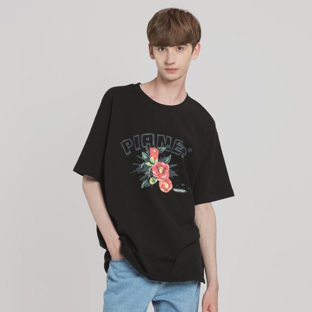 카멜리아 드로잉 티셔츠(BK)
