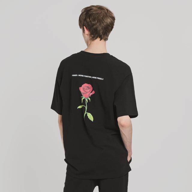 로즈 앤 로고 티셔츠(BK)