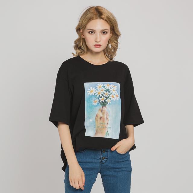 핸드플라워 드로잉 티셔츠(BK)