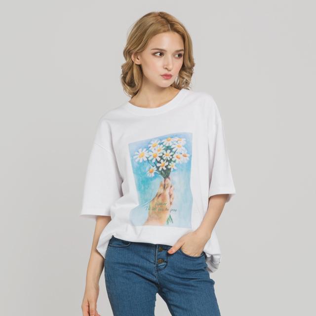 핸드플라워 드로잉 티셔츠(WH)