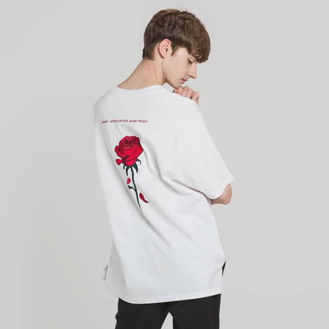 장미 자수 티셔츠(WH)