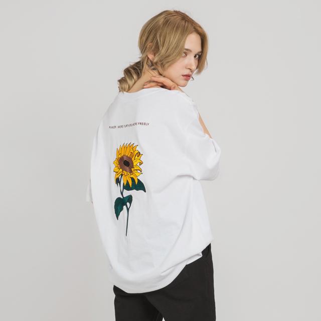 해바라기 자수 티셔츠(WH)