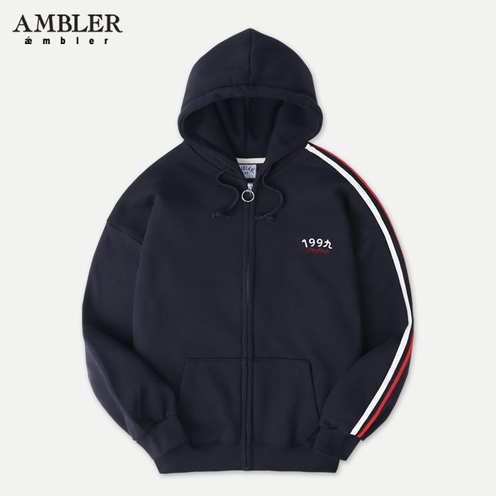 [엠블러]AMBLER 신상 자수 후드 오버핏 집업 AZIP202-네이비 기모
