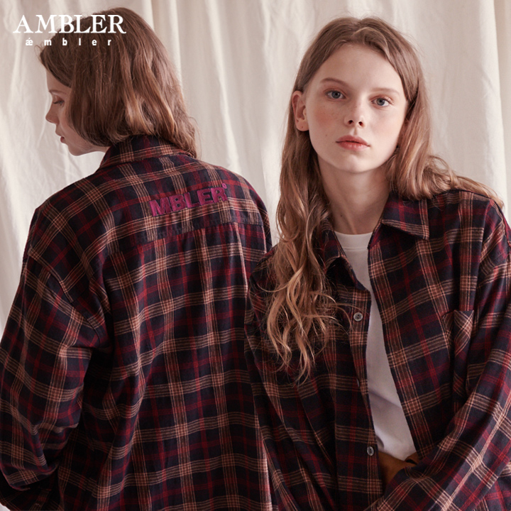 [엠블러]AMBLER 신상 자수 오버핏 체크 셔츠 ASH201-레드