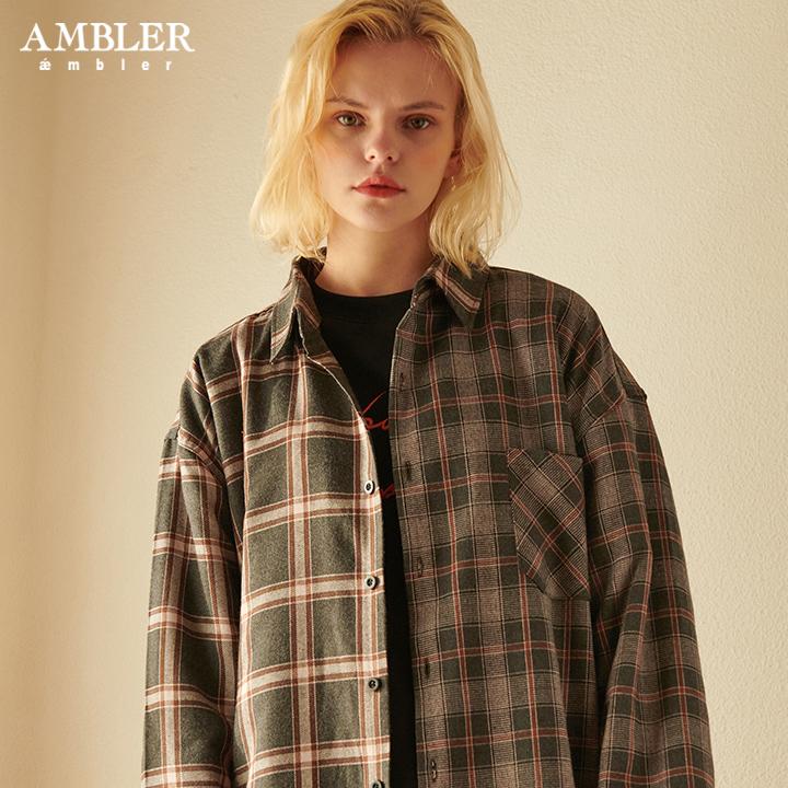 [엠블러]AMBLER 신상 오버핏 체크 셔츠 ASH202-브라운