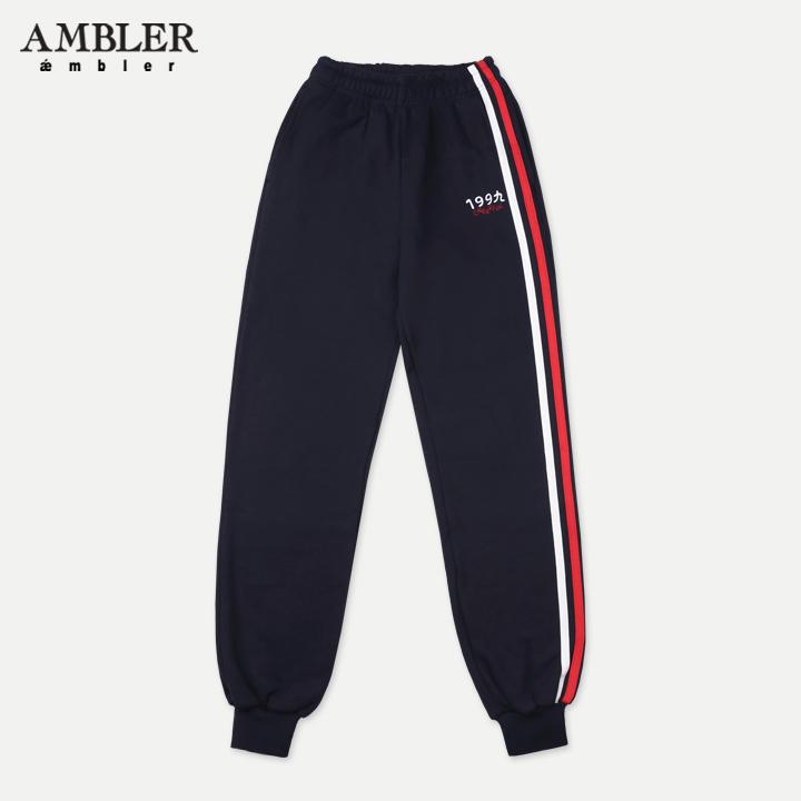 [엠블러]AMBLER 신상 기모 자수 트레이닝 팬츠 AP301-네이비 기모