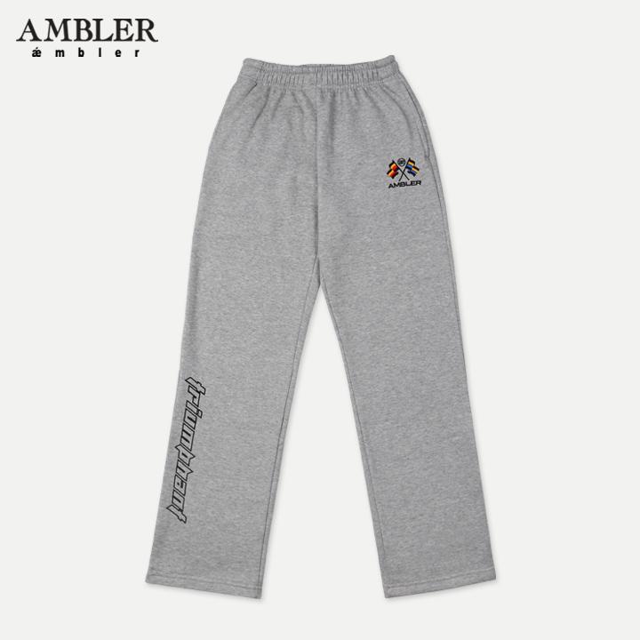 [엠블러]AMBLER 신상 기모 자수 트레이닝 팬츠 AP302-멜란지 기모