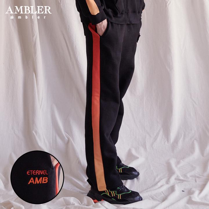 [엠블러]AMBLER 신상 기모 자수 트레이닝 팬츠 AP303-블랙 기모