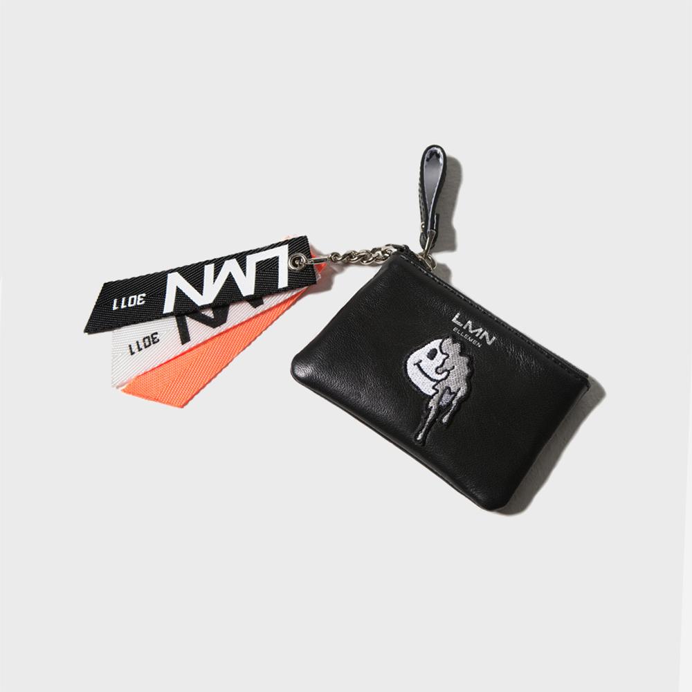 양가죽 와펜 포켓 지갑-블랙+그레이