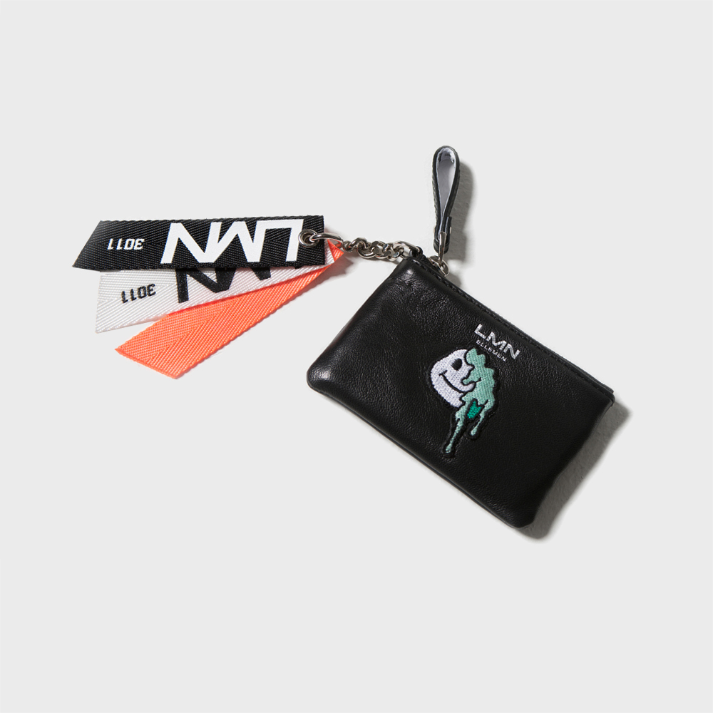 양가죽 와펜 포켓 지갑-블랙+민트