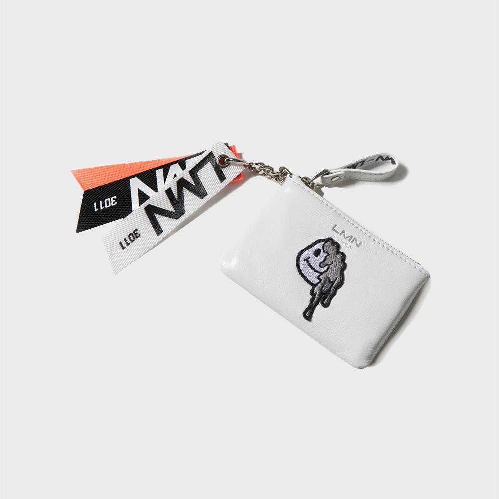 양가죽 와펜 포켓 지갑-화이트+그레이