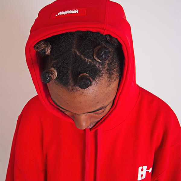 H Emblem Logo Overfit Hoodie Red