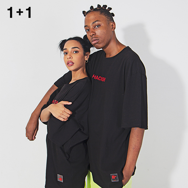 1+1 Logo Layered T-shirt with a round neck black