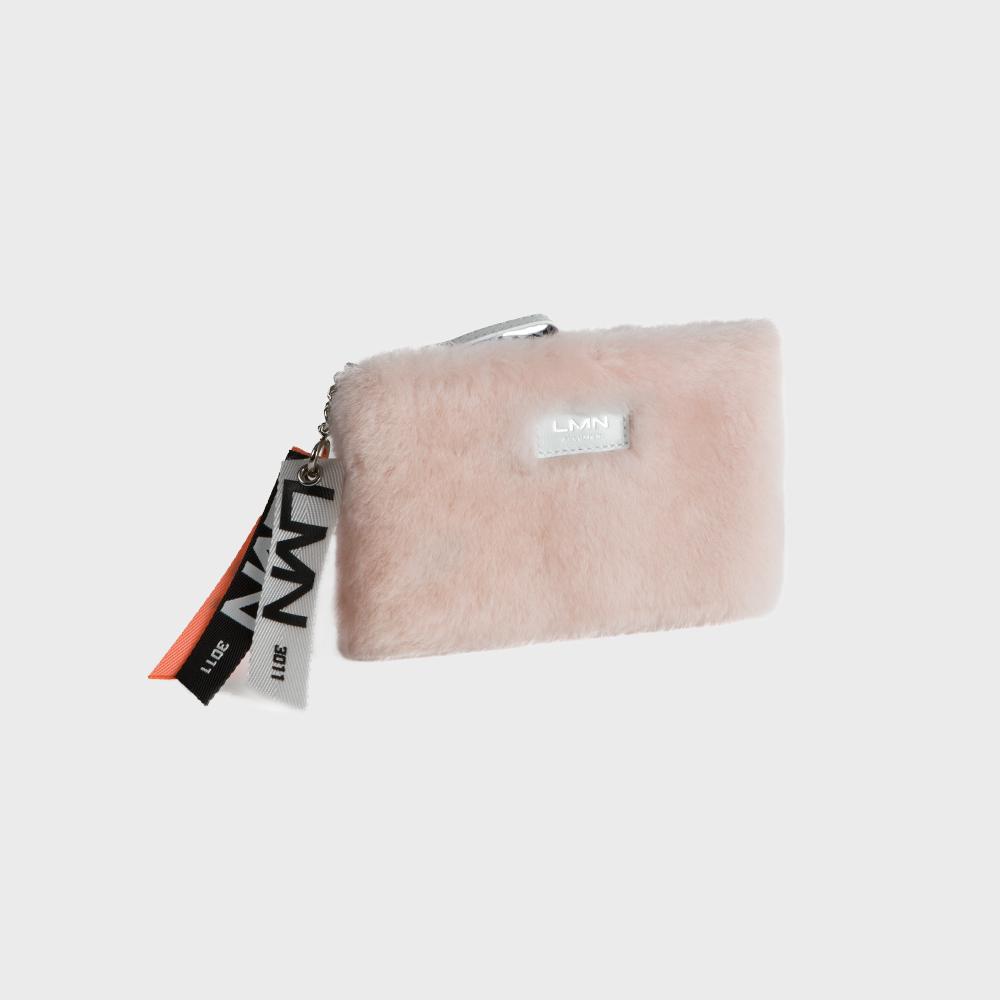 메리노 무스탕 파우치-베이비 핑크